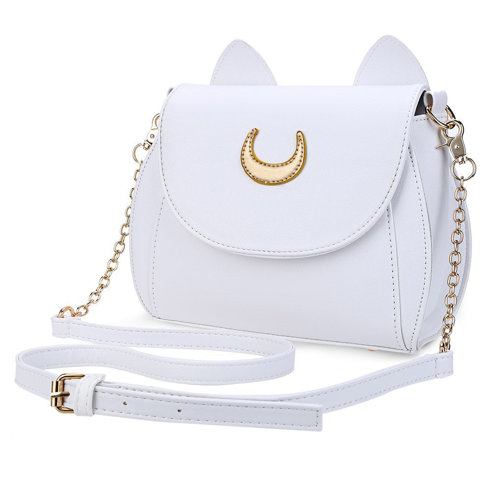 Moon Ladies Handbag Luna Cat Shape Chain Shoulder PU Leather Bag