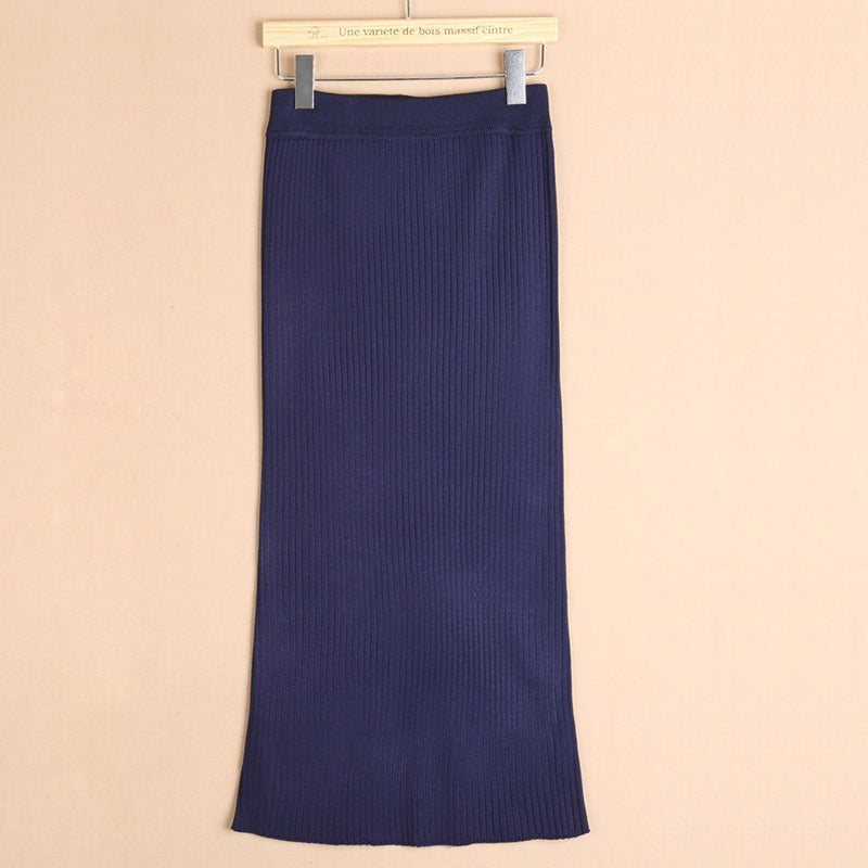 Pencil Skirt Thickening Ladies Knitting Bag Hip Wool Skirts Split Step Long Skirt