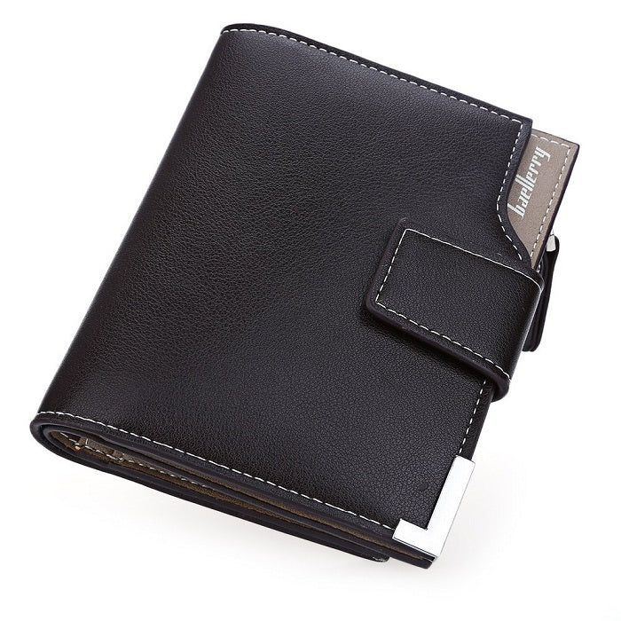 PU Leather Card Holder Coins Pockets With Zipper Short Wallet