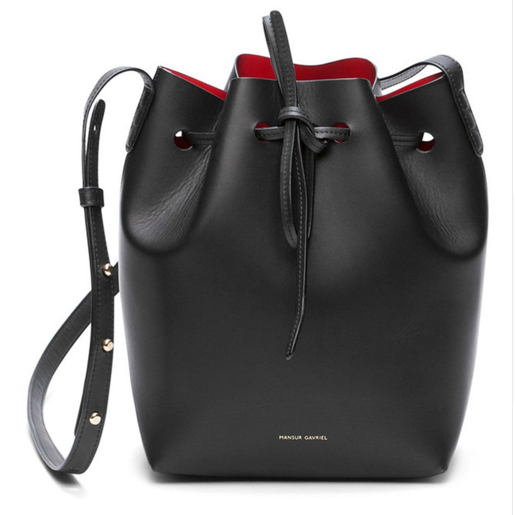 Mansur Gavriel Bucket Women Pu Leather String Shoulder Luxury Bag