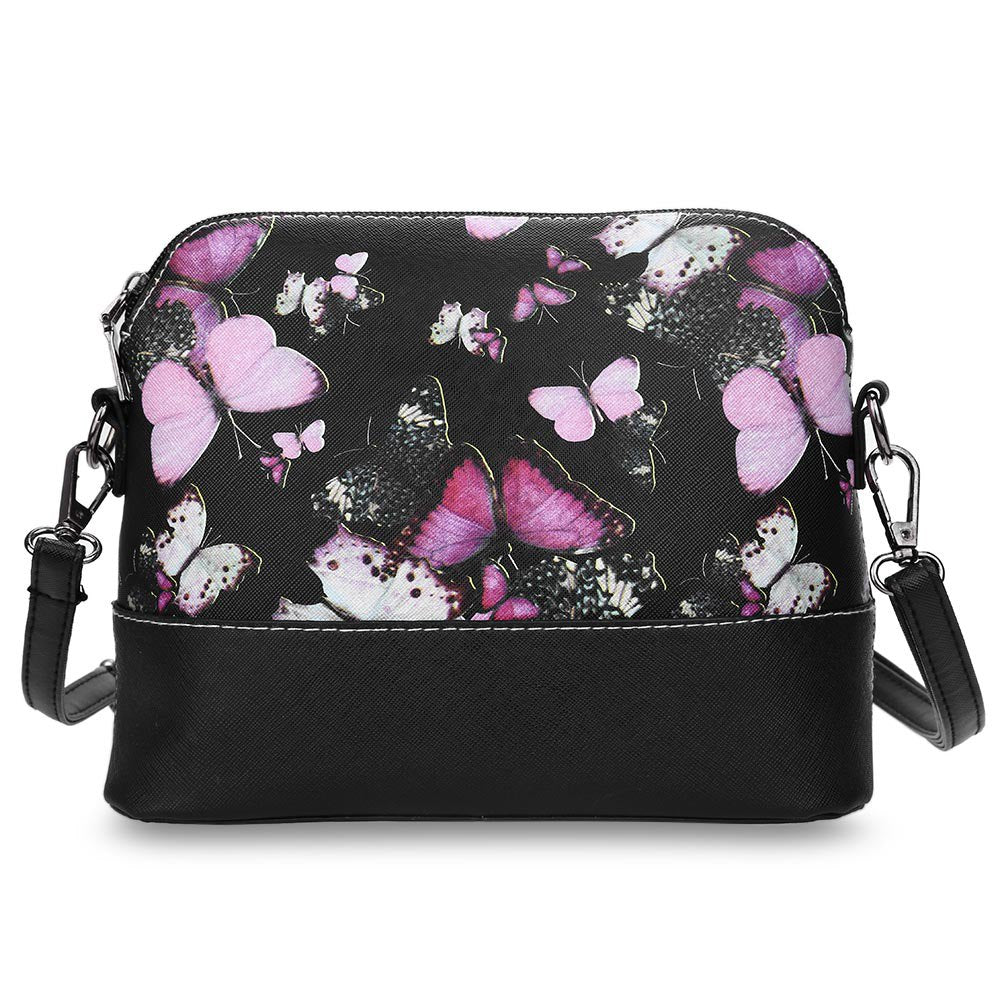 Butterfly Floral Women PU Leather Handbag