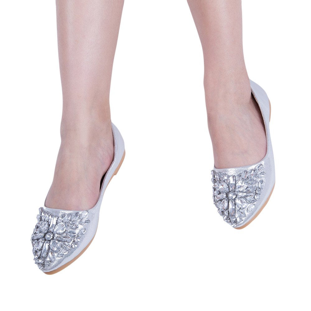 Glitter Rhinestion Crystal Pointed Toe Flat Shoes