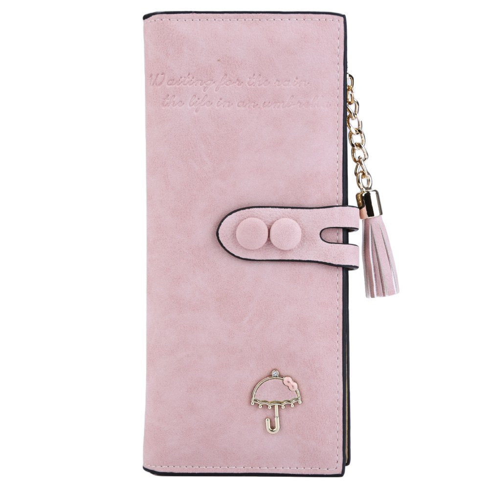 Multi-Functional Umbrella Zipper Female PU Leather Wallets at