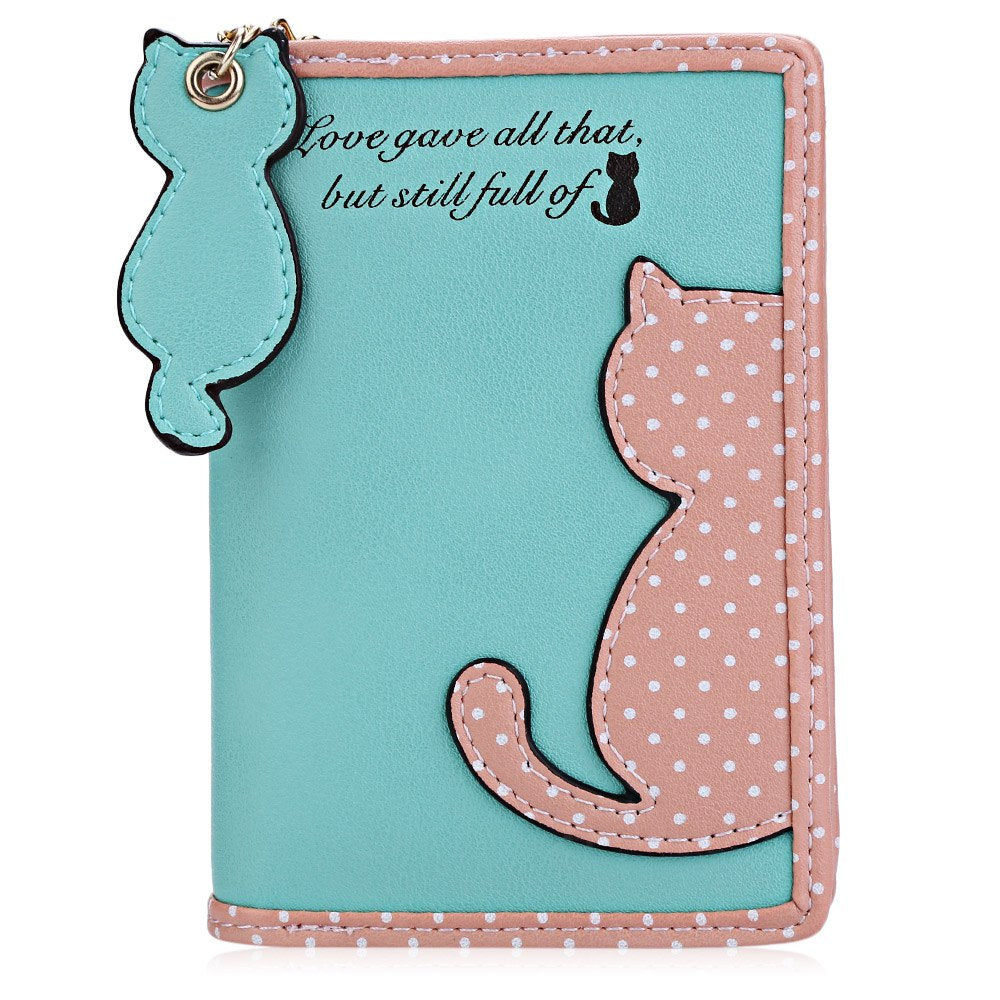 Cat Purses PU Leather Handbags Wallet Card Holder Bifold Bag