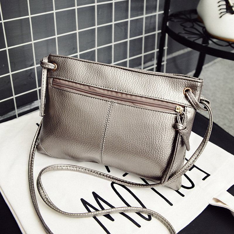 Vintage Solid Color Detachable Strap Zipper Portable Leather Shoulder Cross-Body Bag