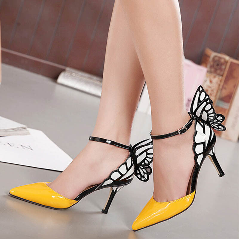 Butterfly Wings Pointed Tip Fine With Spell Color High Heels Pumps