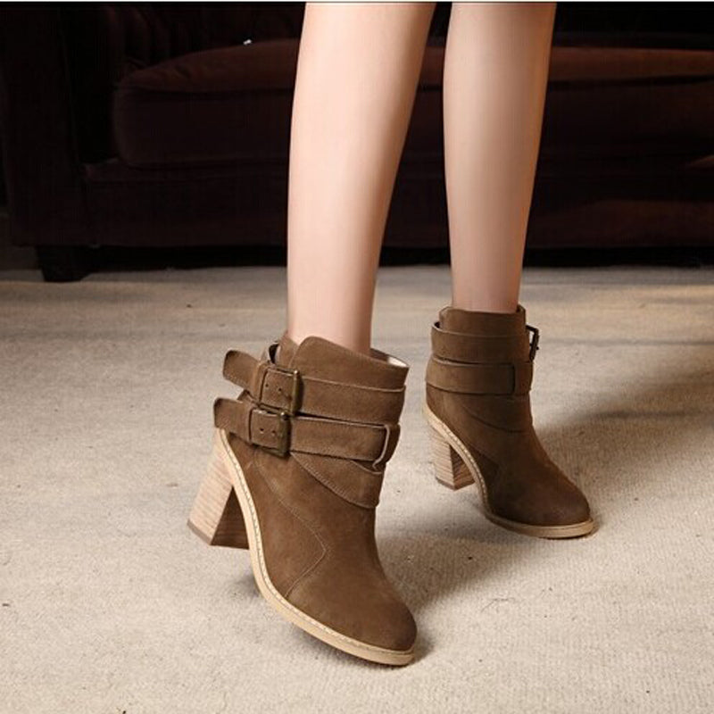 Nubck Genuine Leather Women Boots