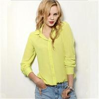 European and American Style Long-sleeve Chiffon Shirt Blouse Large Size