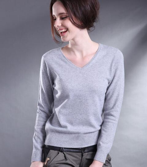 Cashmere Blend V-Neck Long Sleeve Knitted Plus Size Sweaters