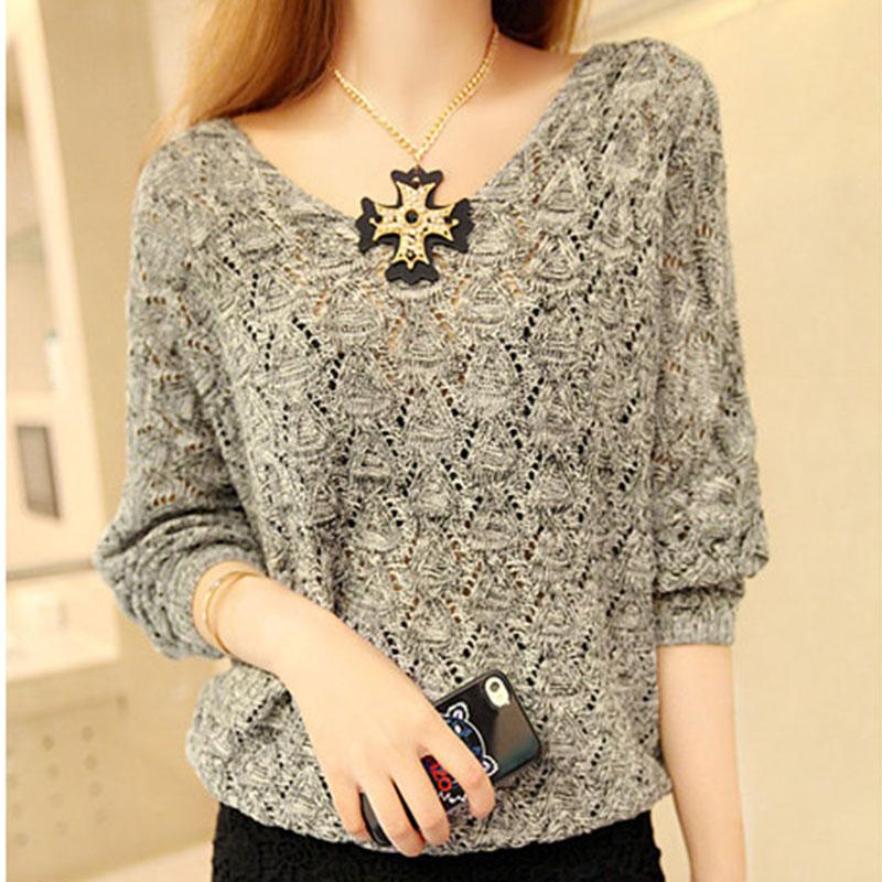 Women Basic Pullover Hollow Sweater Loose Knit V-neck