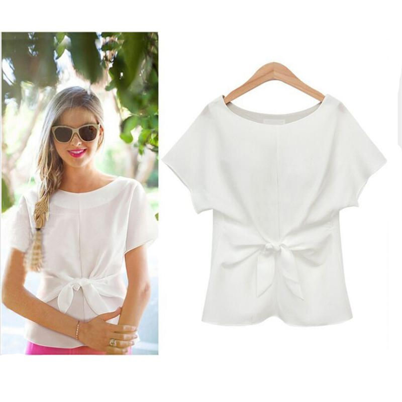 Short Sleeve Bow O-neck Office Chiffon Casual Shirts