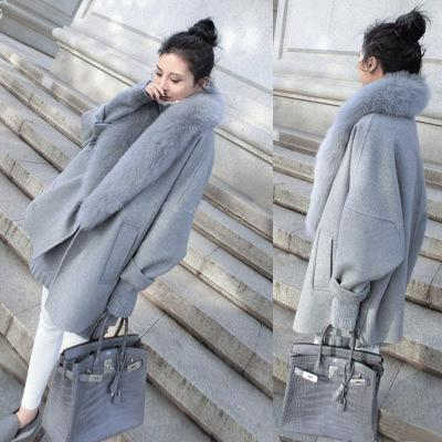 Cocoon-Type Cape Coat Medium-Long Woolen Outerwear