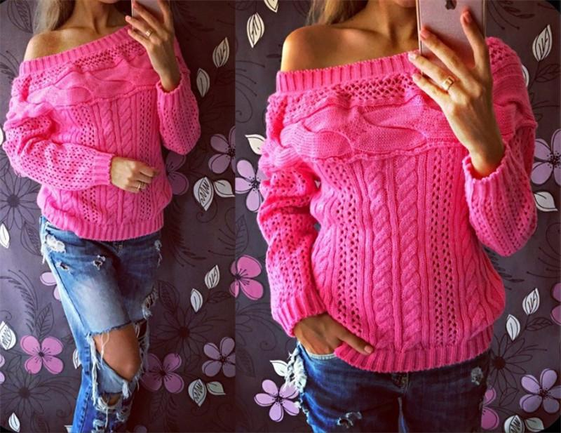 Sexy Off Shoulder Sweater Loose Knitted Top Pullovers Knitwear Jumper