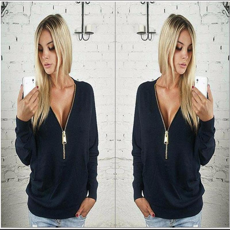 Sexy Deep V Collar Bat Sleeve Hoodies for Female