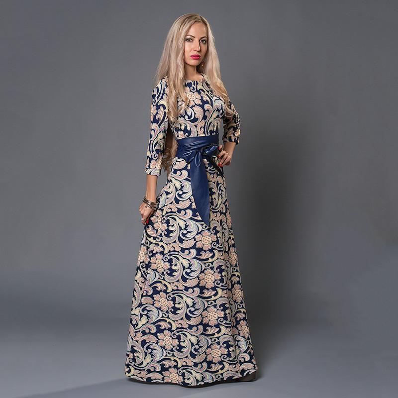 Elegant Russian Style Women Dress Long Floor-Length