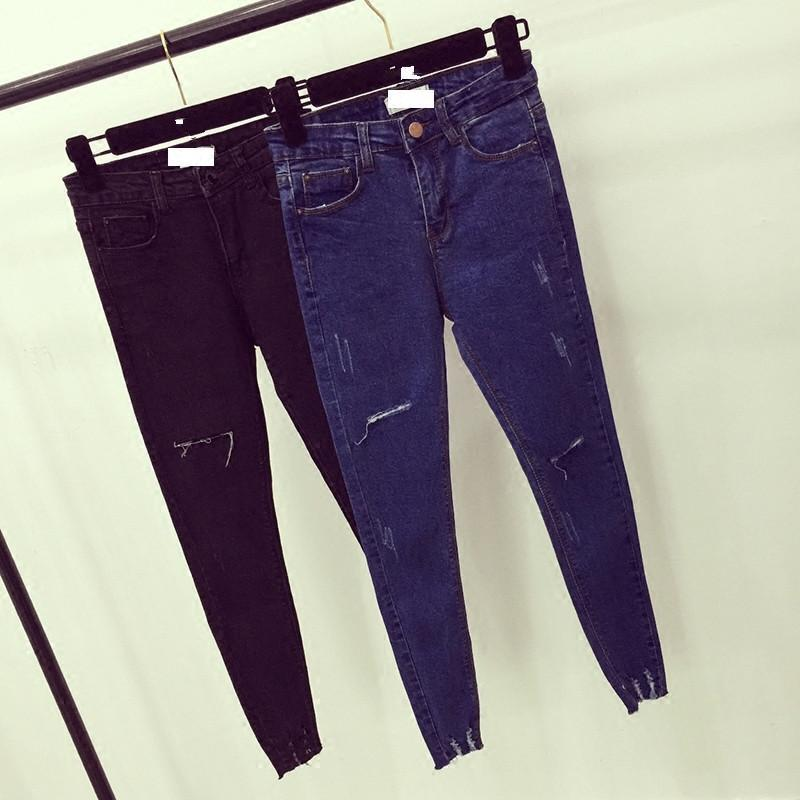 High Waist Skinny Jeans Scratch Worn Feet Vintage Pencil Pants