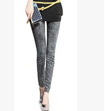 Women Leggings Jeans Painted Snowflake Bottoming Pantyhose Trousers