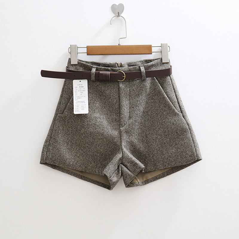 Thicken Women Loose Short Turn-Up Straight Woolen Bootcut Short Pants
