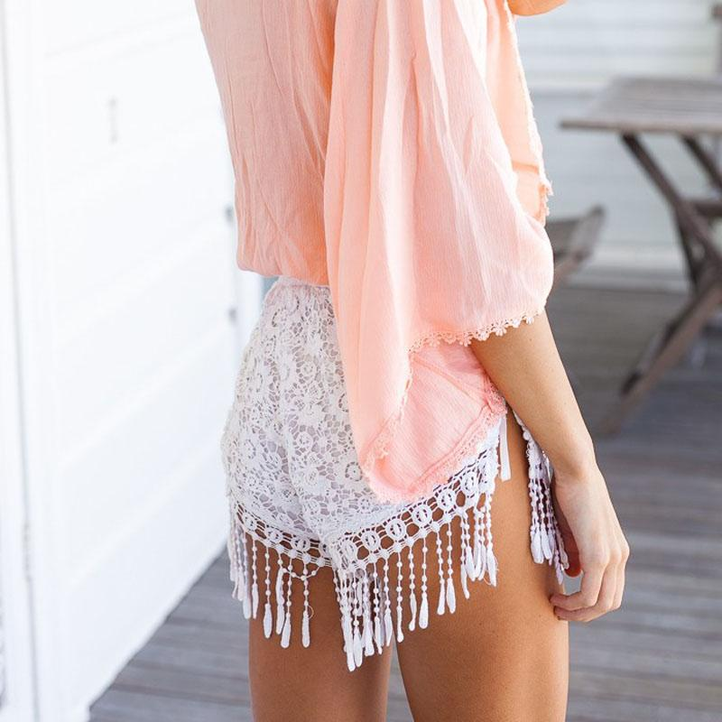 Superior Lady Short Skirt Lace Hollow Tassel