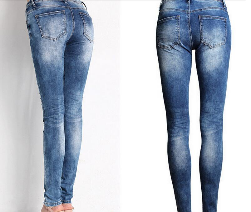 Hot Fashion Ladies Cotton Denim Pants Stretch Bleach Ripped Skinny Jeans