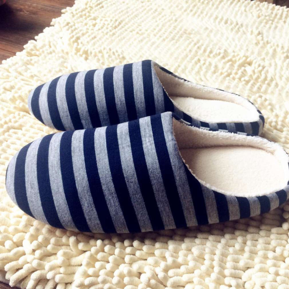Unisex Striped Cloth Bottom Universal Couple Lovers Indoor Shoes