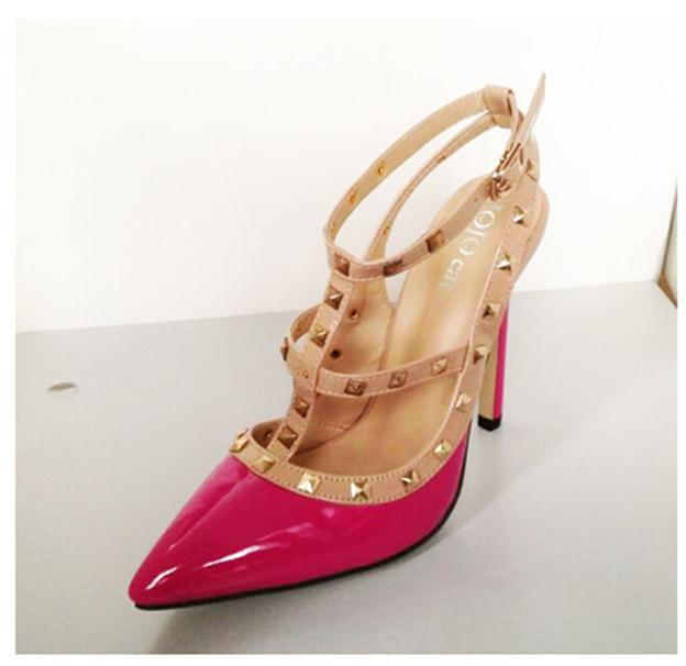 Sexy Pointed Toe High Heels Fashion Buckle Studded Pumps