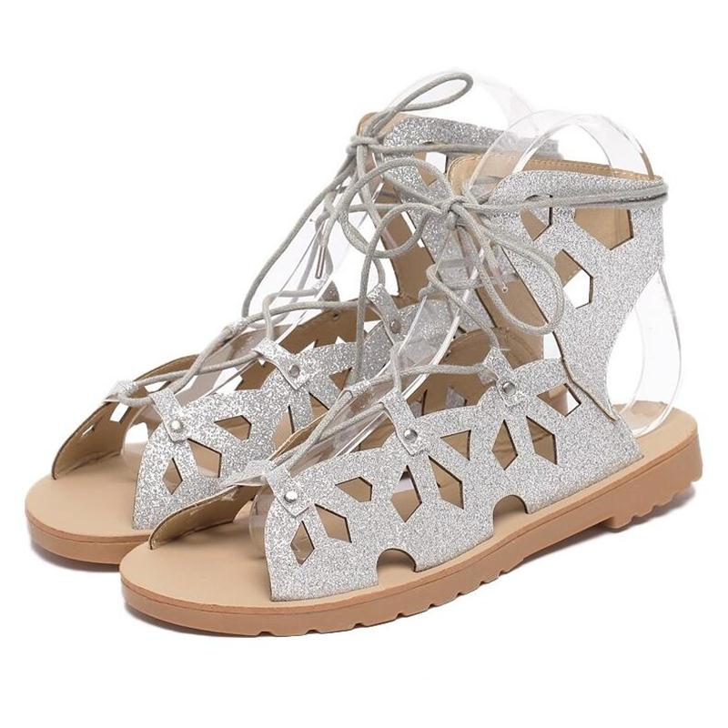 Ankle Lace-Up Flat Sandals Shoes Women Casual Shoes