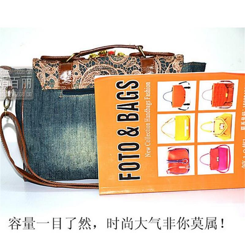 Lace Denim Shoulder Retro Fashion Bag Satchels