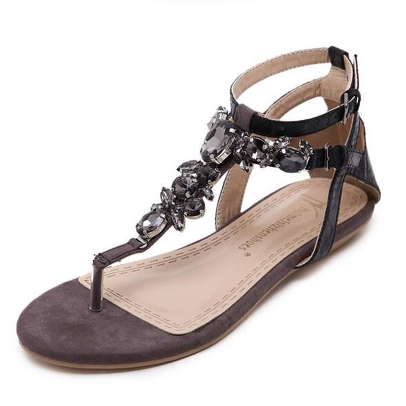 Women Shoes Snake Skin Straps Gem Decorative Flat Sandals