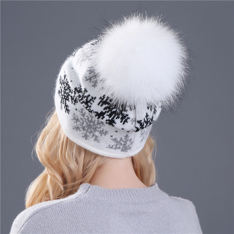 Real Mink Wool Rabbit Fur Knitted Hat