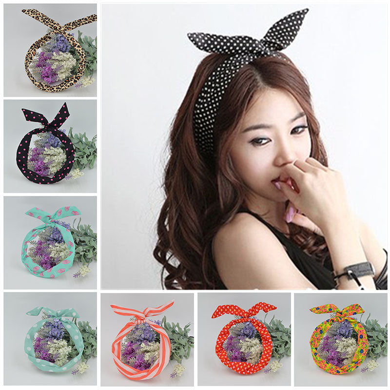 Cute Leopard Dots Lip Print Flower Bunny Rabbit Ear Ribbon Hairband