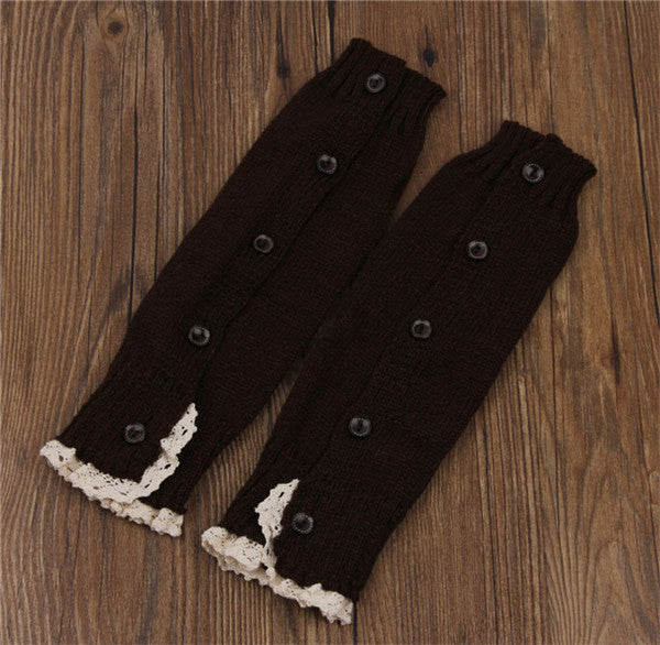 1 Pair Soft Warm Trendy Knitted Lace Boot Cuffs Socks