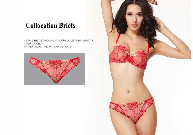 Ultra Thin Transparent Lace Sexy Bra Push Up Brief Set With Cherry Embroidery