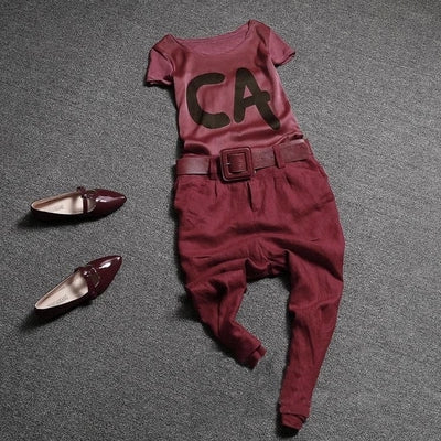 Fashion T-shirts Silk Cotton & Linen Suit Haroun Pants Two-Piece Outfit