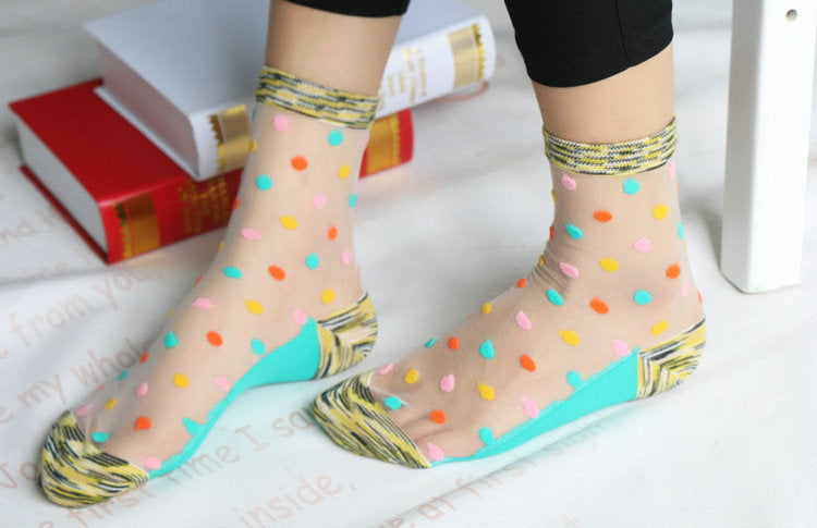 Colorful Ultrathin Transparent Beautiful Crystal Cotton Lace Elastic Short Socks