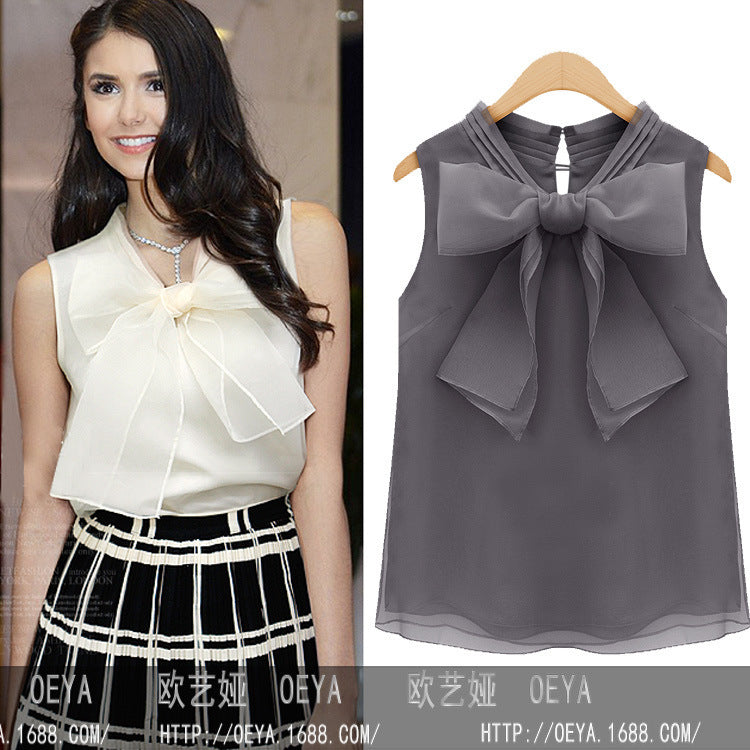 Bowknot Chiffon Sleeveless Blouse
