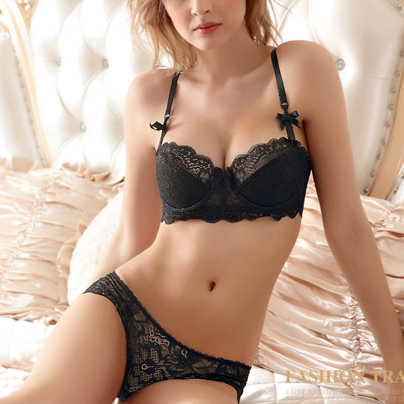 New Intimates Tow Bow Sexy Bra & Briefs Ultra-Thin Underwear Set