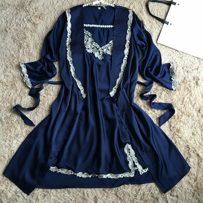 Women Lace Silk Soft Sleep Bathing Sexy Nightdress Robe & Gown Set
