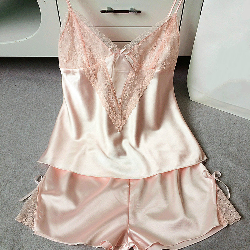 Silk Lace Spaghetti Strap Short Pajama Set