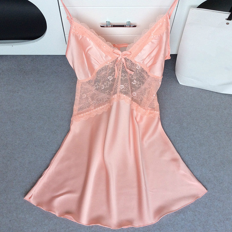 Mini Sexy Strap Silk Openwork Nightdress Lace Above Knee