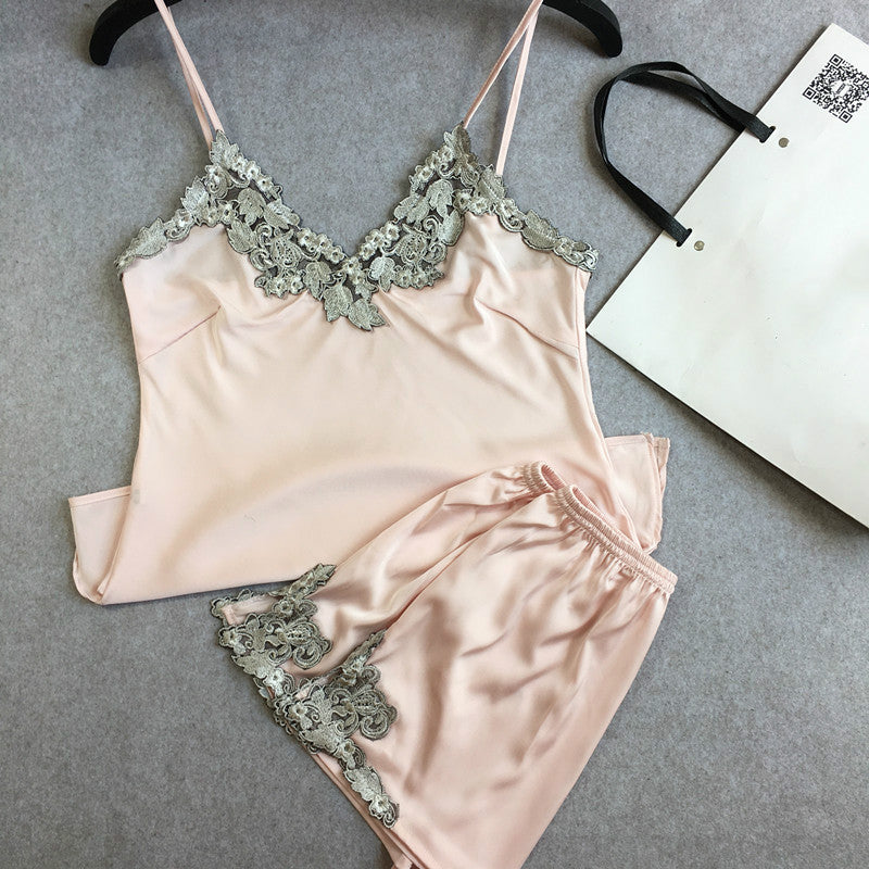 Lace Embroidered Silk Shorts Pajamas Set