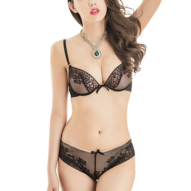 Sexy Lady Lace Bra Set Cotton Embroidery Underwear Push Up Bra and Briefs