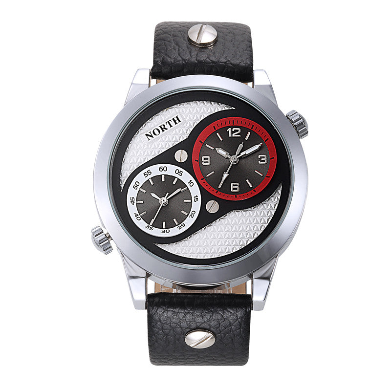 Luxury brand North Dual Time Display Men's Sport Watch Leather Waterproof