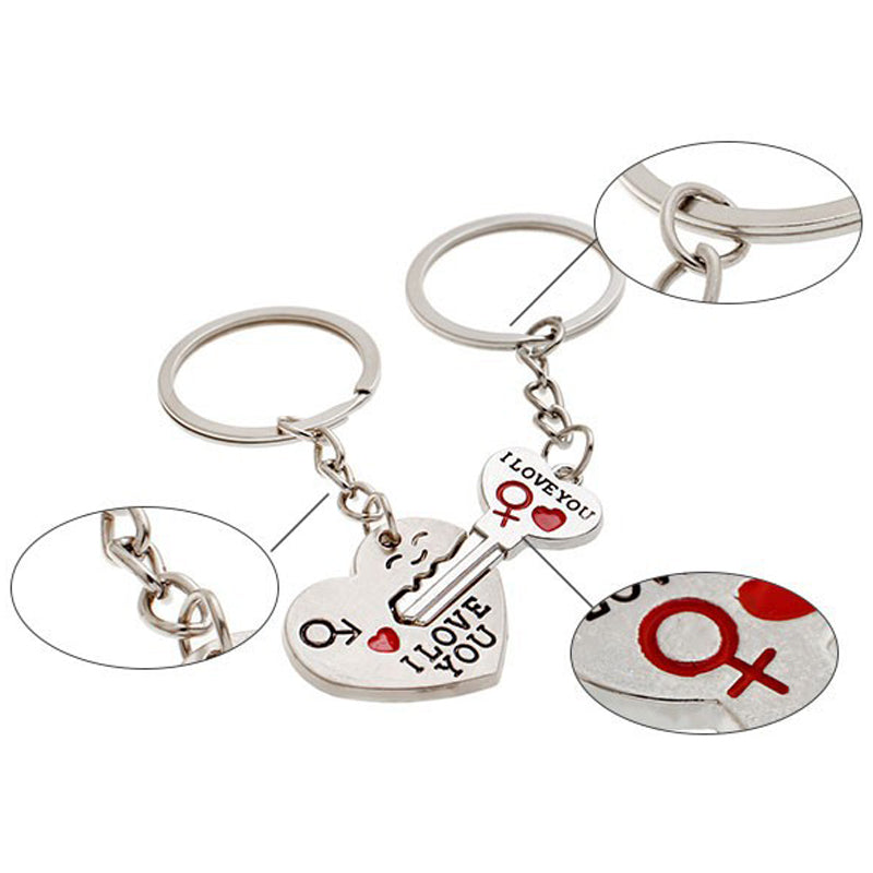 Couple I LOVE YOU Key Chain Heart Key Ring Silver Plated