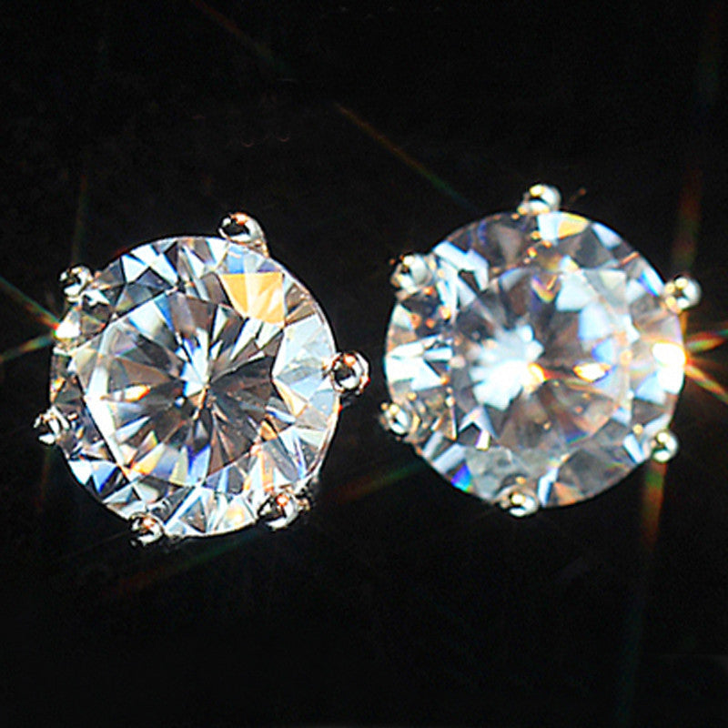Simple Trendy Design Rhinestone Crystal Silver Stud Earrings