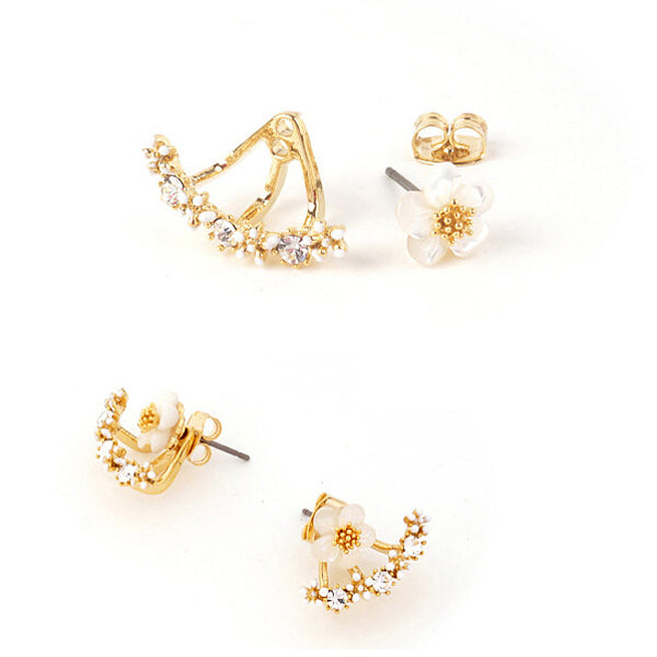 Cute Gold/Silver Crystal Flower Earrings Women Fashion Jewelry
