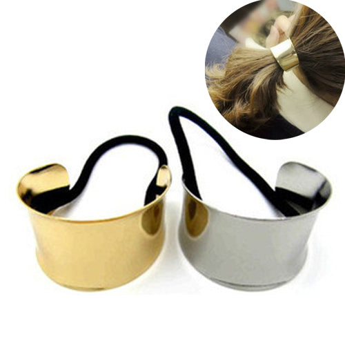 Punk Alloy Gold Silver Elastic Hair Rope Ties Accessories