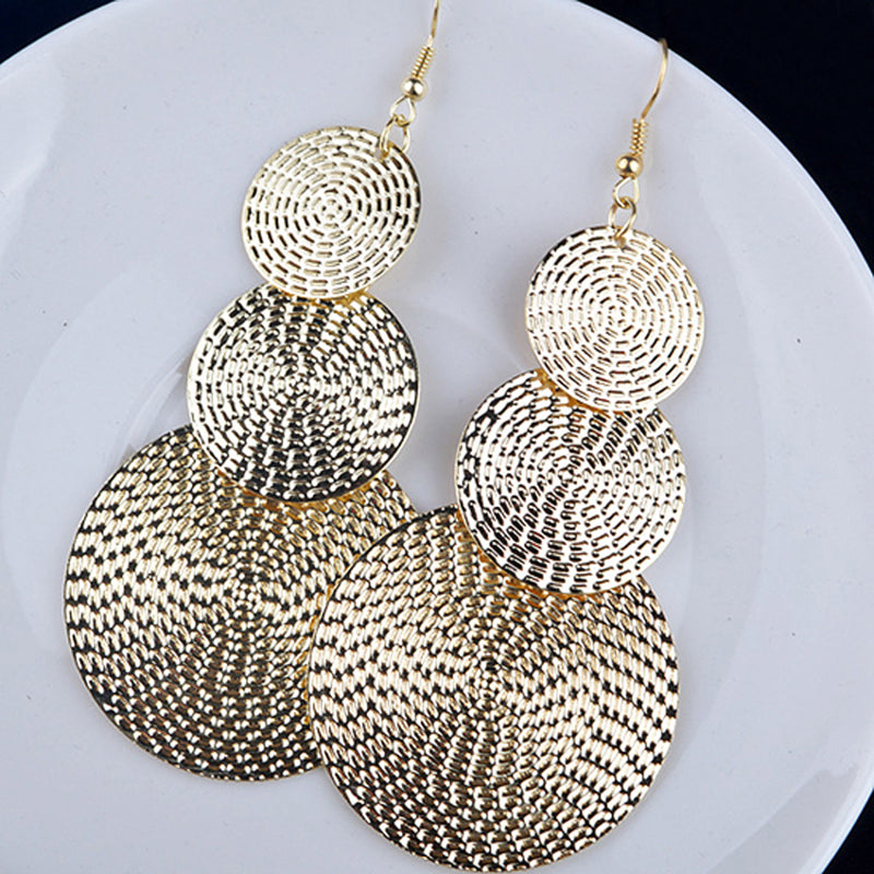 Elegant Silver Black Gold Plated Big Round Long Drop Ear Dangle Earrings