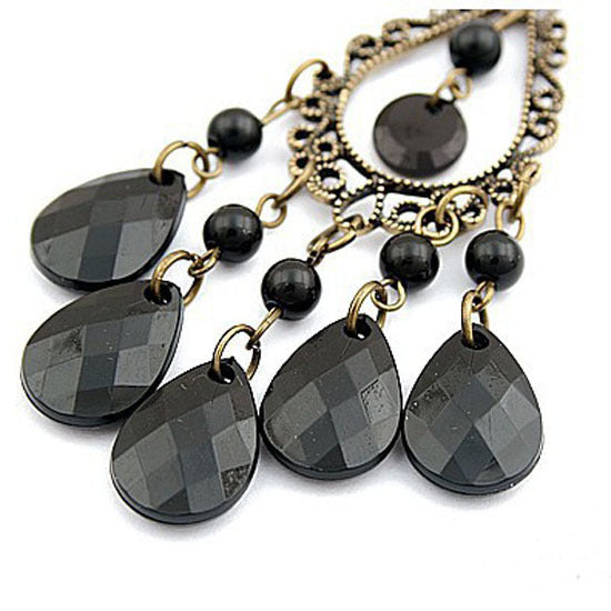 Luxury Vintage Big Black Water Drop Earrings With Stone For Women