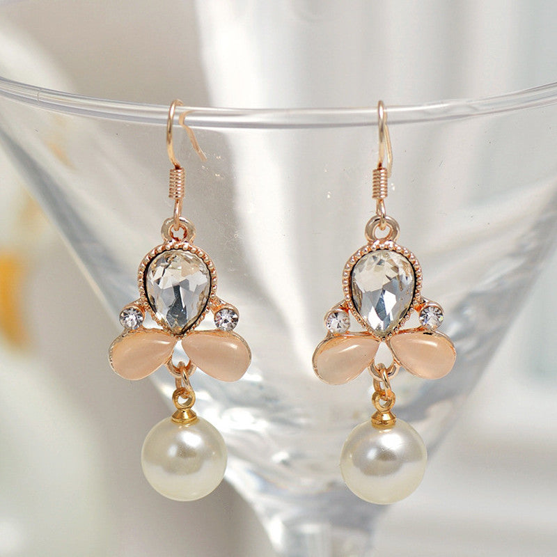 Crystal Rose Flower Pearl Gold Long Dangle Earrings